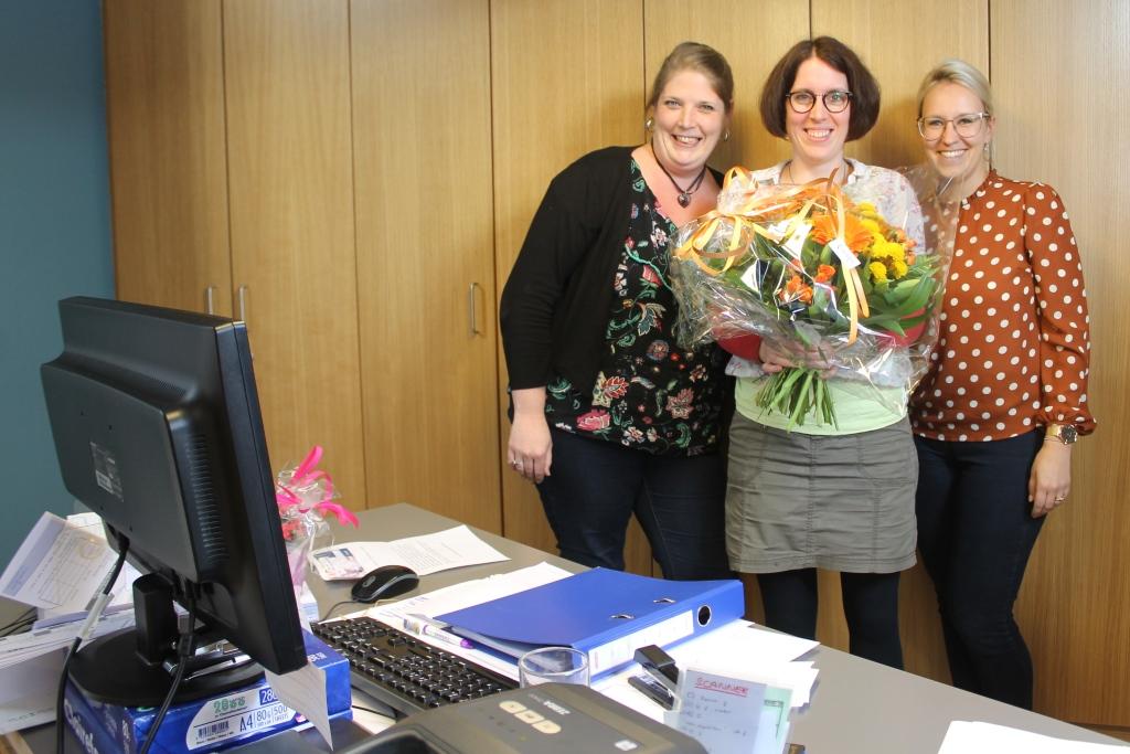 Innere Medizin und Onkologie im Krankenhaus St. Nikolaus: die Büroassistentinnen Gaëlle, Silke und Melanie (Foto: BRF)