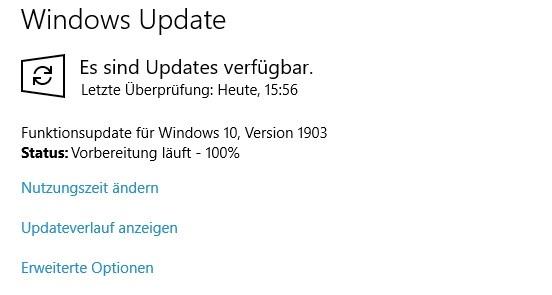 Screenshot Windwos Update 1903